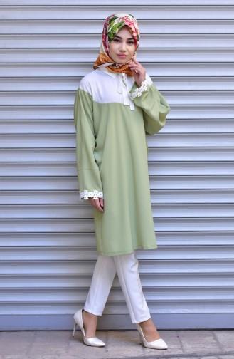 Garnished Tie Collar Tunic 1003-03 Light Beige Green 1003-03