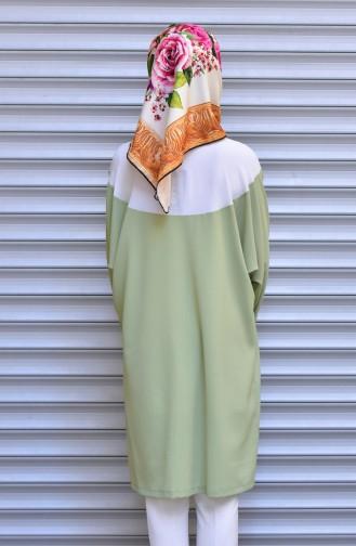 Tunique Garnie Col Cravate 1003-03 Ecru Vert 1003-03