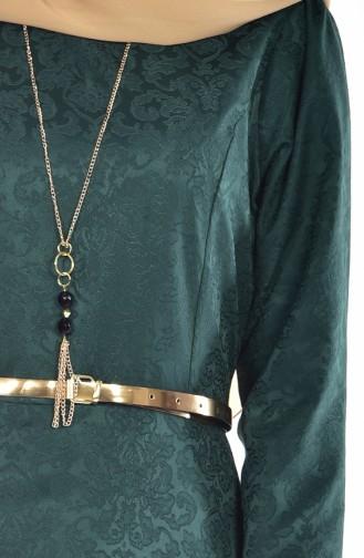 Sefamerve Kemerli Elbise 3951-06 Zümrüt Yeşil 3951-06