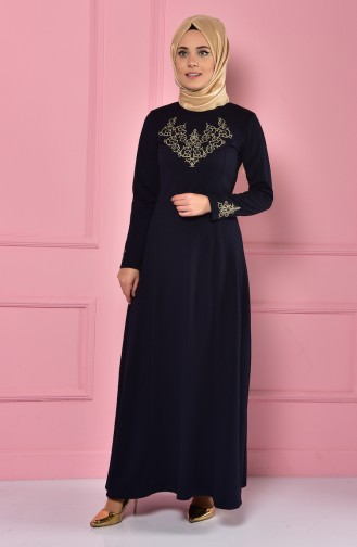 Embroideried Collar Dress 4401-07 Navy Blue 4401-07
