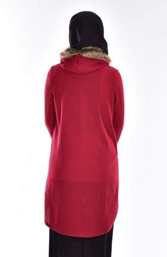 Fur Hooded Pullover 15300-02 Claret Red 15300-02