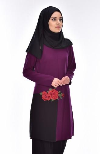 Tunique Bordée de Fleurs 0876-02 Pourpre Noir 0876-02