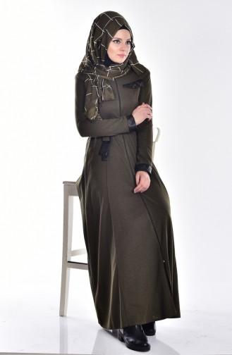 فستان بتصميم مميز مع تفاصيل من الجلد  2485-04