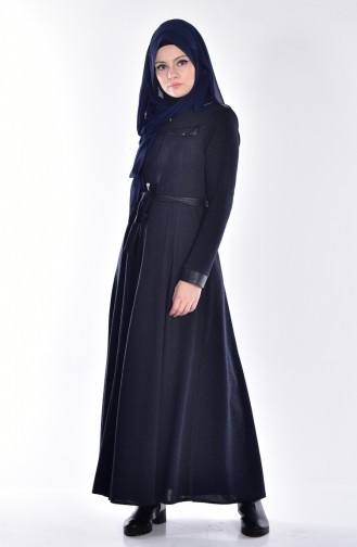 Abaya Détail Fermeture Cuir 2485-01 Bleu Marine 2485-01