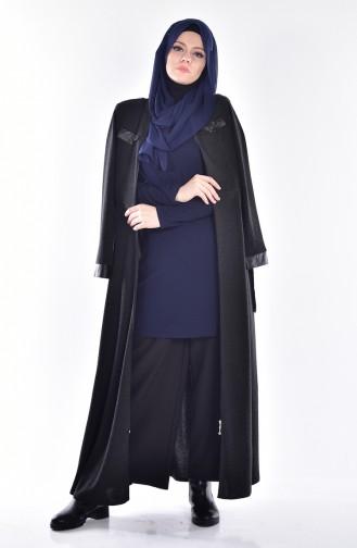 Abaya mit Leder Detail 2485-03 Schwarz 2485-03