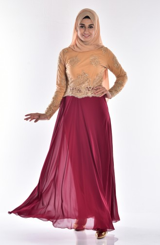 Claret red Islamic Clothing Evening Dress 6336-01