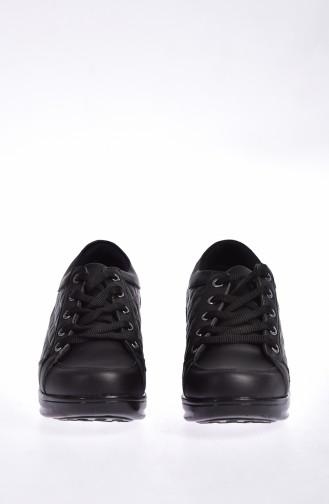 ALLFORCE Platformlu Spor Ayakkabı 0107-01 Siyah Siyah 0107-01
