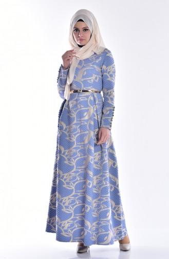 Jaquard Kleid mit Gürtel 5035-01 Dunkel Blau 5035-01