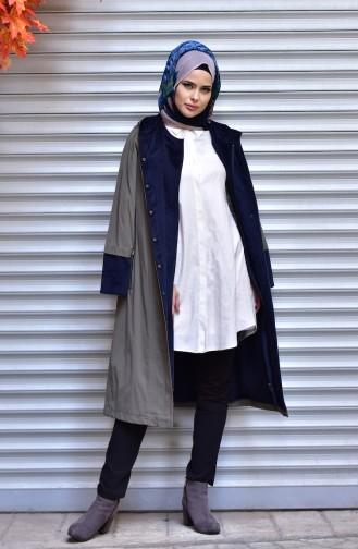 شوكران معطف بتصميم موصول بقبعة و كباس 35773-02 لون أخضر 35773-02