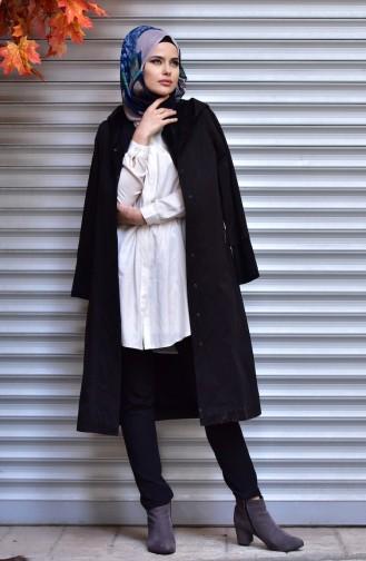 شوكران معطف بتصميم موصول بقبعة و كباس 35773-03 لون أسود 35773-03