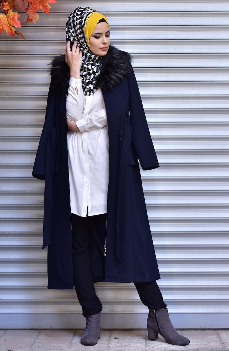 869ebddb2 SUKRAN Zippered Fur Long Coat 35786-02 Navy Blue 35786-02