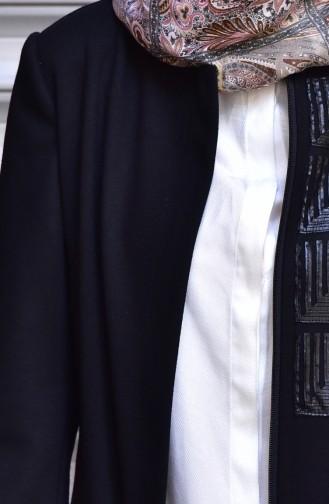 شوكران كاب بتفاصيل من الجلد و سحاب 35782-01 لون أسود 35782-01