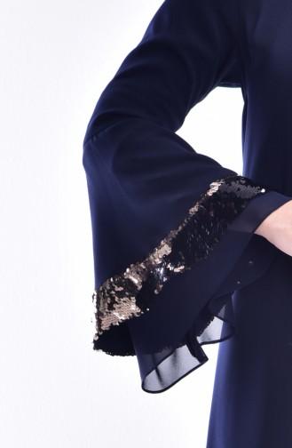 Kleid mit Pailetten 0120-02 Dunkelblau 0120-02