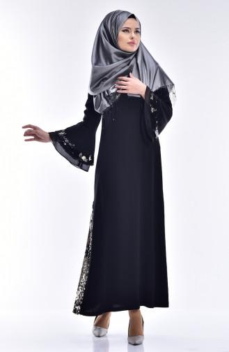 Robe Détail Paillette 0120A-01 Noir 0120A-01