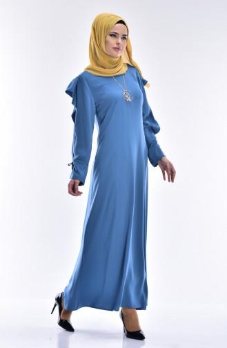 SUKRAN Chiffon Detailed Dress 0123-01 Blue 0123-01