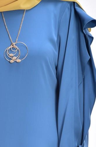 Robe Détail Mousseline 0123-01 Bleu 0123-01