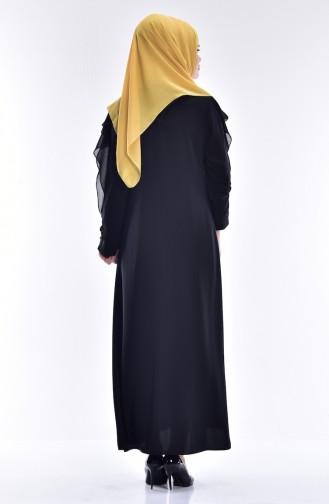 Kleid mit Chiffon Detail 0123-02 Schwarz 0123-02