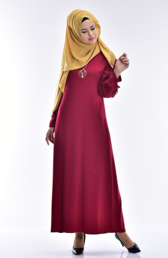 SUKRAN Chiffon Detailed Dress 0123-03 Claret Red 0123-03