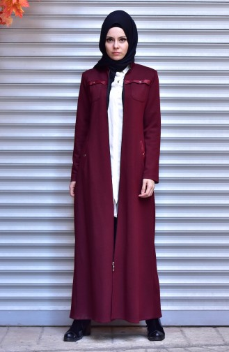 Leather Detailed Abaya 5915-02 Claret Red 5915-02