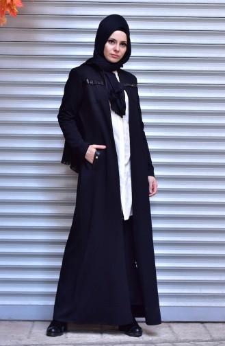 Abaya Détail Cuir 5915-01 Noir 5915-01