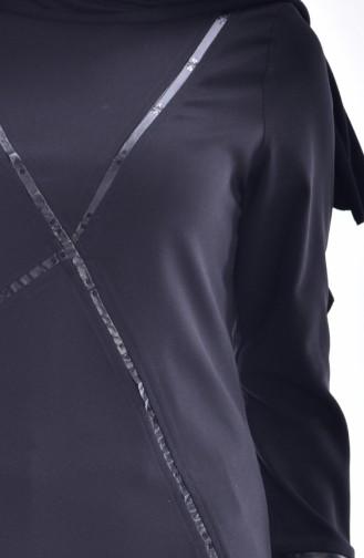 Kleid mit Leder Detail 0107-01 Schwarz 0107-01