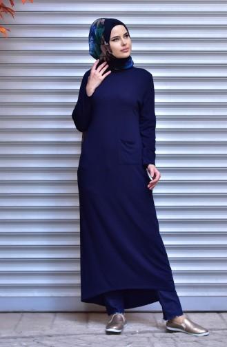 Knitwear Long Sweater 10092-04 Navy Blue 10092-04