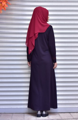 Suede Garni Abaya with Zipper 2420-04 Purple 2420-04