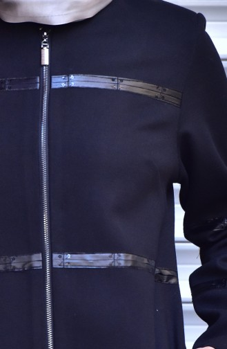 SUKRAN Leather Detail Cape 35790-02 Black 35790-02