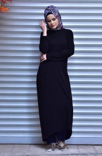 بلوز تريكو بتصميم طويل 10092-07 لون أسود 10092-07