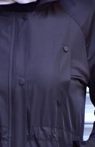 Imperméable à capuche et Boutons-Pressions 35775-02 Noir 35775-02