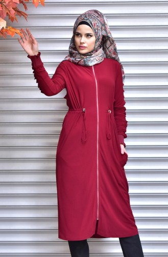 Ruched at Waist Coat with Zipper 1018-02 Claret Red 1018-02