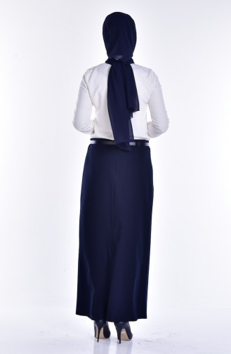 Arched Pencil Skirt 1580-02 Navy Blue 1580-02