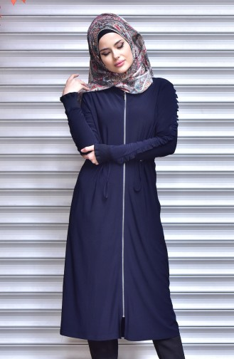 Ruched at Waist Coat with Zipper 1018-01 Navy Blue 1018-01