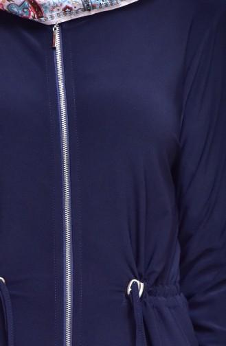 Cape a Fermeture Taille Plissée 1018-01 Bleu Marine 1018-01