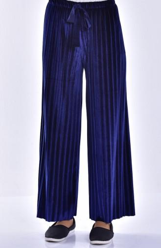 Pleated Velvet Trousers 2501-04 Navy Blue 2501-04
