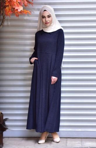 Navy Blue İslamitische Jurk 1127-02