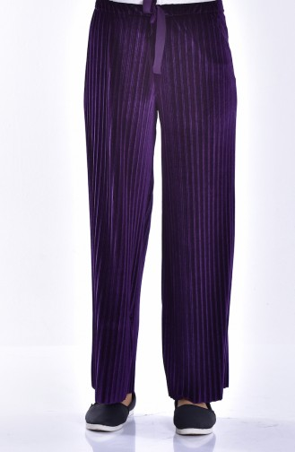 Pleated Velvet Trousers 2501-02 Purple 2501-02