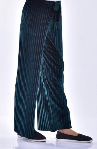 Pleated Velvet Trousers 2501-05 Jade Green 2501-05