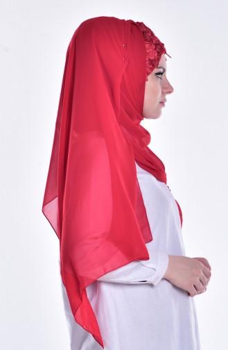 Geschnürter Bonnet Schal 0010-05 Rot 05