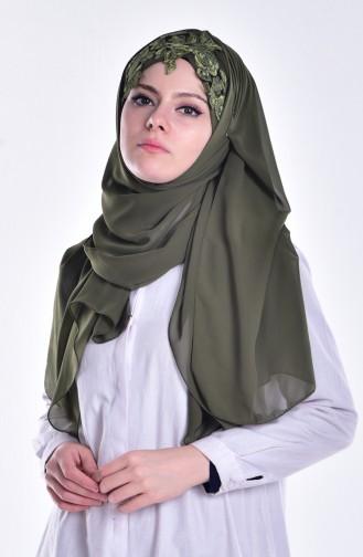 Geschnürter Bonnet Schal 0010-15 Khaki Grün 15
