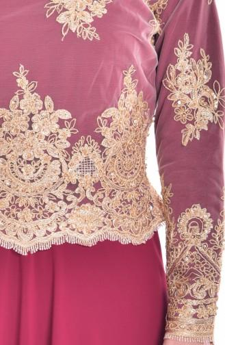 Robe de Soirée a Dentelle 6335-04 Bordeaux 6335-04