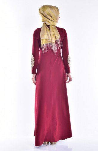 Laced Dress with Pearls 1007-04 Claret Red 1007-04