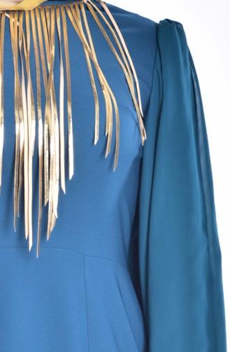 Robe de Soirée Coupe Laser 2030-05 Pétrole 2030-05