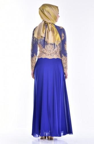 Saxon blue Islamic Clothing Evening Dress 6335-01