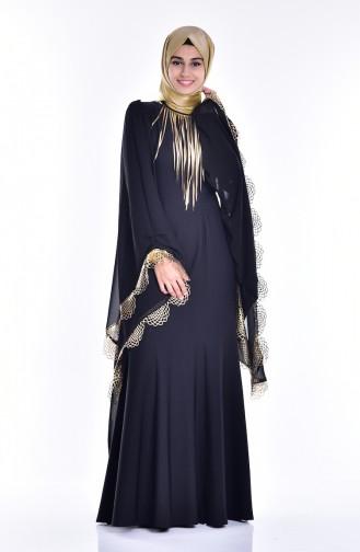 Robe de Soirée Coupe Laser 2030-04 Noir 2030-04