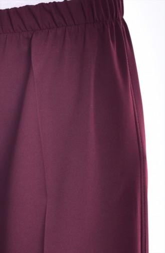 Elastic Waist Wide Leg Trousers 3087-11 Claret Red 3087-11