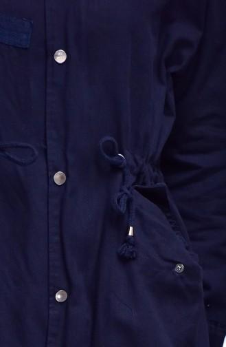 Besticktes Jacke mit Reißverschluss 4513-01 Dunkelblau 4513-01