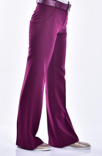 Pantalon a Ceinture 3068-25 Plum 3068-25