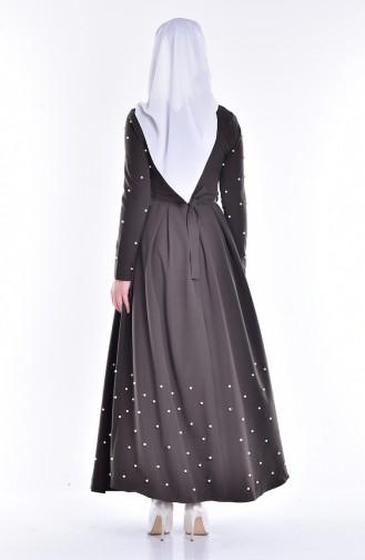 İncili Kuşaklı Elbise 1900-04 Haki