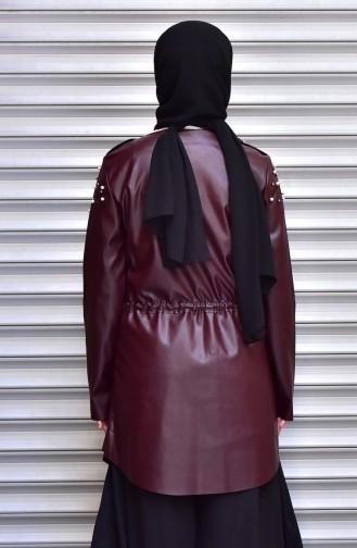 Veste Cuir Perlées 4539-08 Bordeaux 4539-08